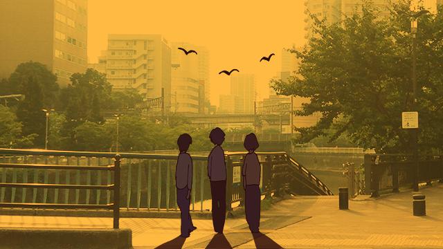 「寂しそうに黄昏れる3人の後ろ姿」の図